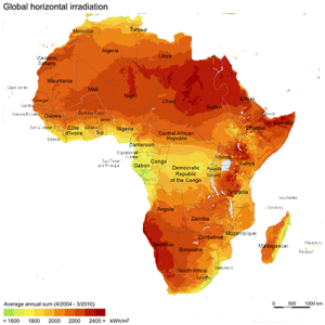 Africa solar horizontal irradiation
